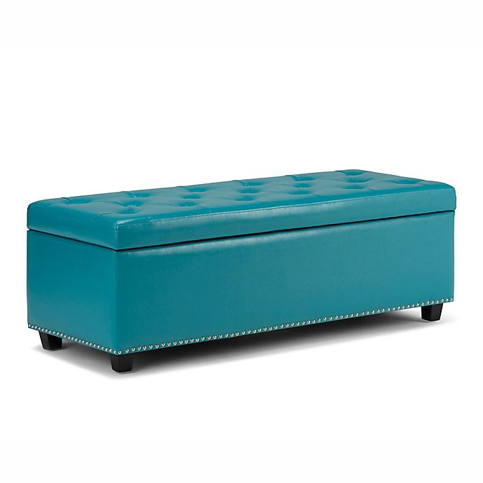 Alternate image 1 for Simpli Home Hamilton Bonded Leather Storage Bench in Mediterranean Blue
