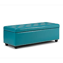 Simpli Home Hamilton Bonded Leather Storage Bench