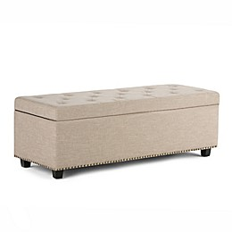 Simpli Home Hamilton Upholstered Storage Bench