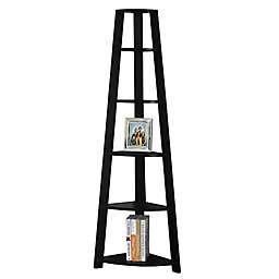 Monarch Specialties Corner Accent Étagère Bookcase in Black