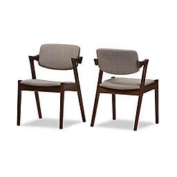 Baxton Studio Elegant Dining Chair in Light Grey/Walnut (Set of 2)