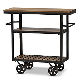 Baxton Studio Kennedy Mobile Serving Cart in Brown/Black