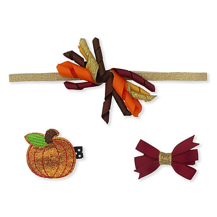 Alternate image 1 for So'dorable 3-Piece Fall Pumpkin Headband and Clip Set