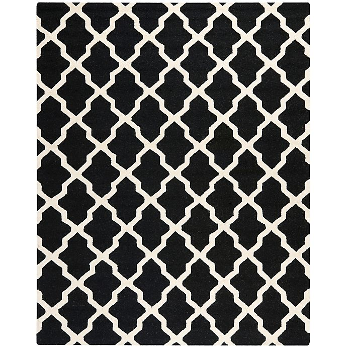 Alternate image 1 for Safavieh Cambridge 8-Foot x 10-Foot Quatrefoil Rug in Black/Ivory