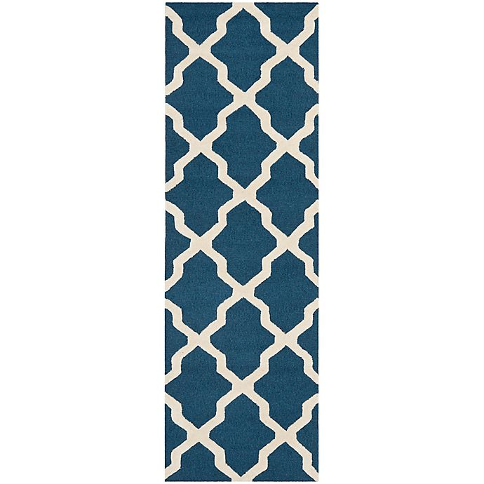 Alternate image 1 for Safavieh Cambridge 2-Foot 6-Inch x 12-Foot Quatrefoil Rug in Navy Blue/Ivory