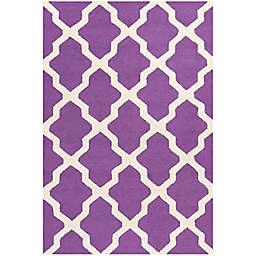Safavieh Cambridge 3-Foot x 5-Foot Quatrefoil Rug in Purple/Ivory