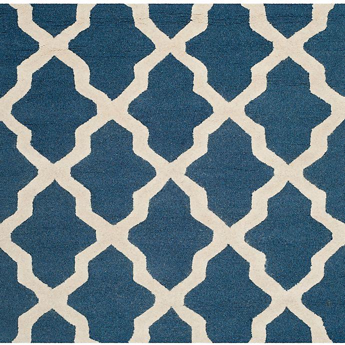 Alternate image 1 for Safavieh Cambridge 4-Foot x 4-Foot Quatrefoil Rug in Navy Blue/Ivory