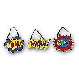 """Imagine Fun 3-pack Superhero """"Pow! Wham! Bam!"""" Wall Hangers"""