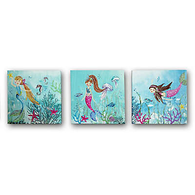 Imagine Fun Mermaid World Glitter Canvas Wall Art (Set of 3)