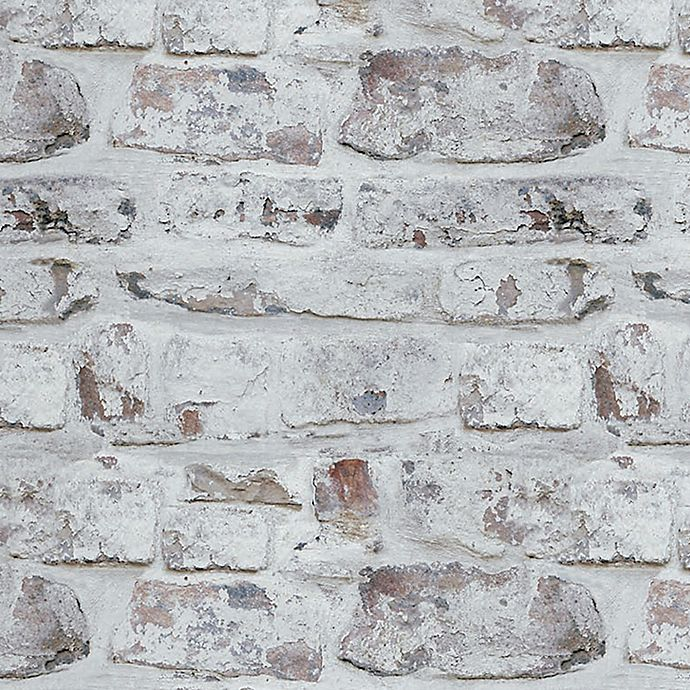 V I P Whitewashed Brick Wallpaper In White Bed Bath Beyond