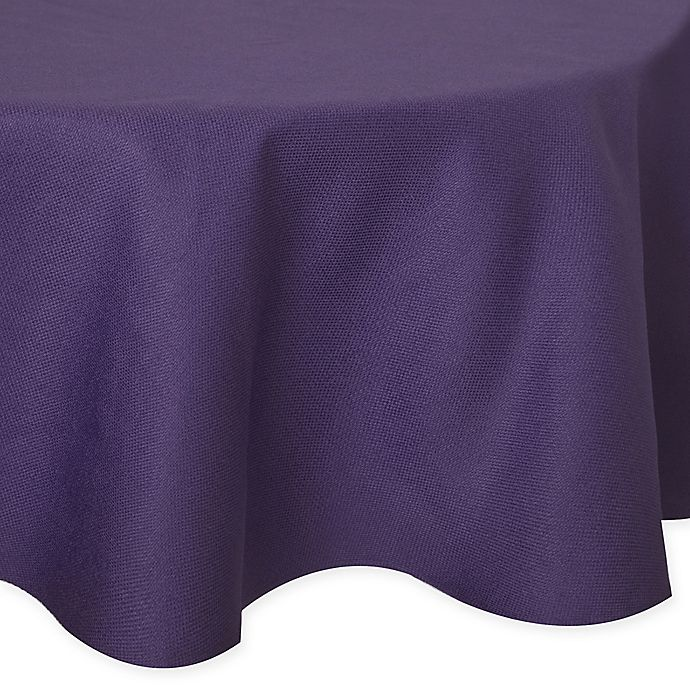 Alternate image 1 for Basketweave 60-Inch Round Tablecloth in Purple