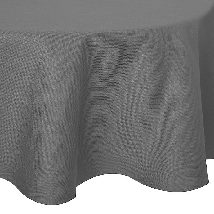 Alternate image 1 for Basketweave 60-Inch Round Tablecloth in Silver