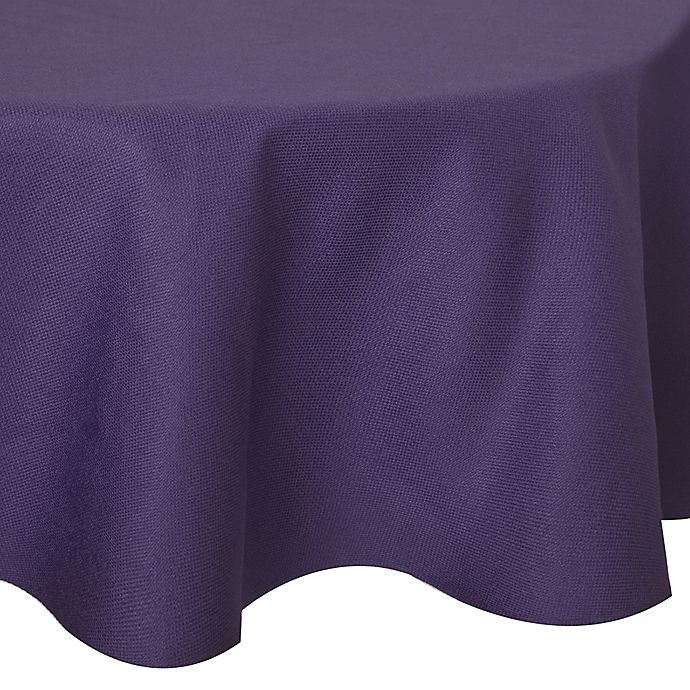 Alternate image 1 for Basketweave 70-Inch Round Tablecloth in Purple