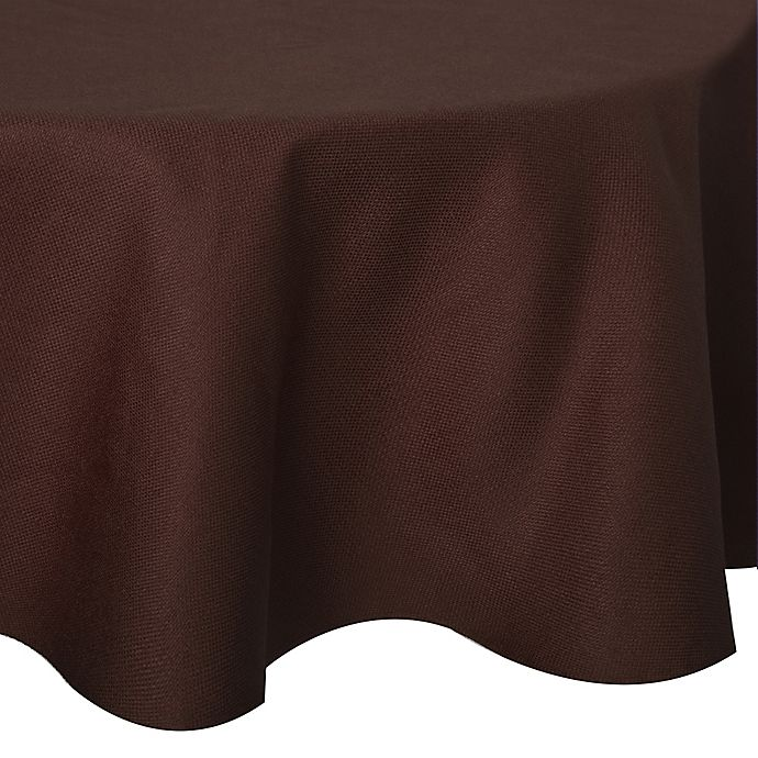 Alternate image 1 for Basketweave 70-Inch Round Tablecloth in Chocolate