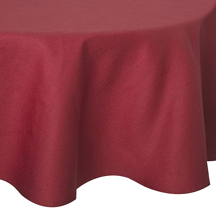 Alternate image 1 for Basketweave 70-Inch Round Tablecloth in Red
