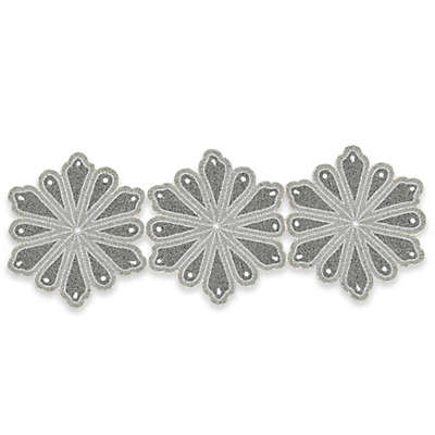 Winter Wonderland Beaded Snowflake 36-Inch Table Runner