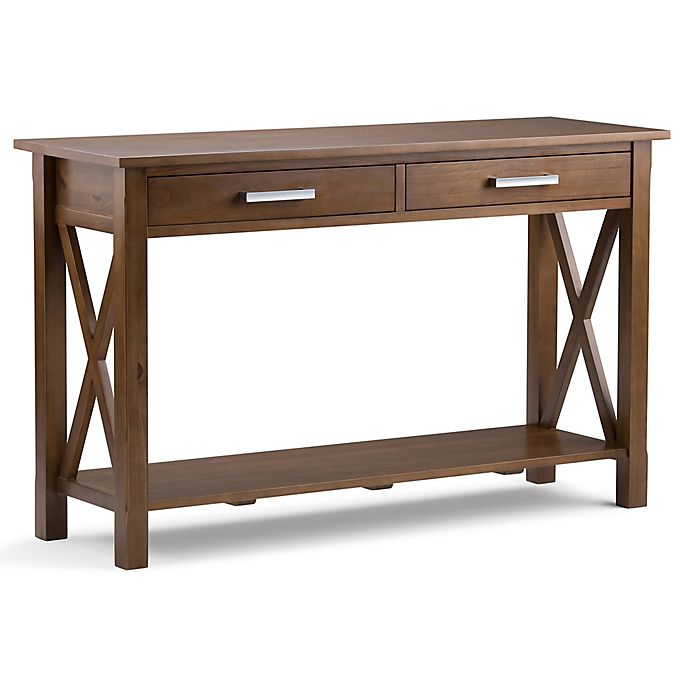 Alternate image 1 for Simpli Home Kitchener Console Sofa Table in Saddle Brown