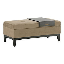 Simpli Home Oregon Storage Ottoman with Tray