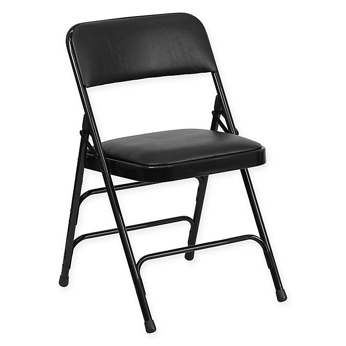 Alternate image 1 for Flash Furniture 30-Inch Metal Folding Chair with Padded Seat in Black