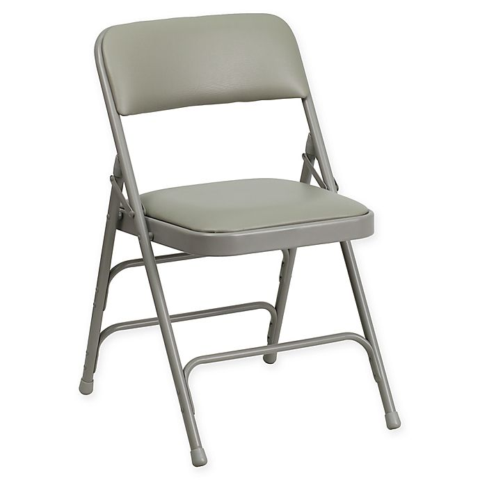 Alternate image 1 for Flash Furniture 30-Inch Metal Folding Chair with Padded Seat in Grey