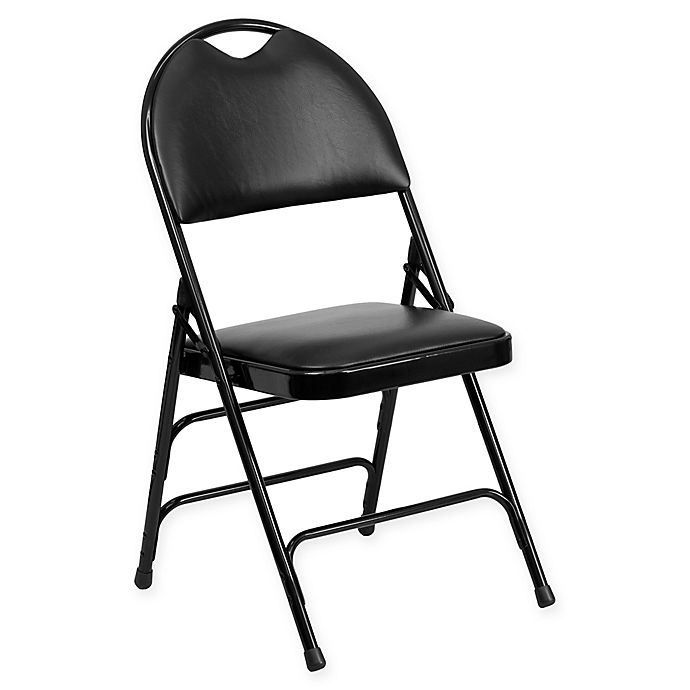 Alternate image 1 for Flash Furniture 34.5-Inch Metal Folding Chair with Padded Seat in Black