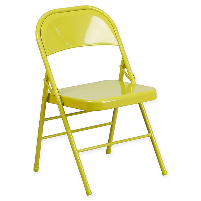 Alternate image 1 for Flash Furniture Colorburst Steel Folding Chair in Citron