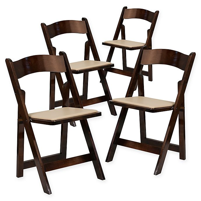 Alternate image 1 for Flash Furniture Wood Folding Chairs in Beige (Set of 4)