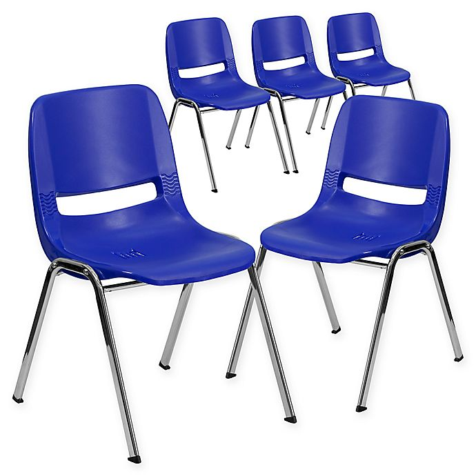 Alternate image 1 for Flash Furniture 24-Inch Plastic Stack Chair in Blue/Silver (Set of 5)