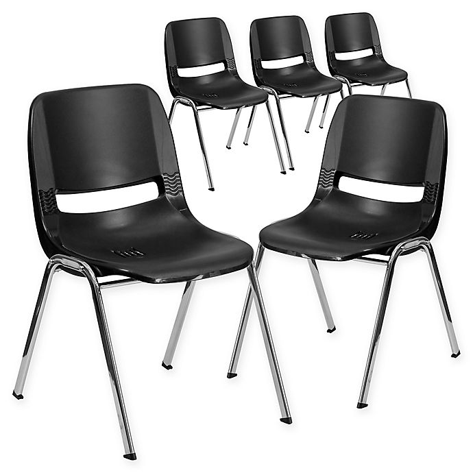 Alternate image 1 for Flash Furniture 29-Inch Plastic Stack Chair in Black/Silver (Set of 5)