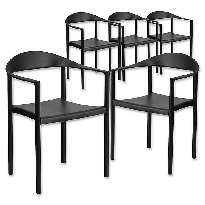 Alternate image 1 for Flash Furniture 30-Inch Plastic Stack Café Chair in Black (Set of 5)