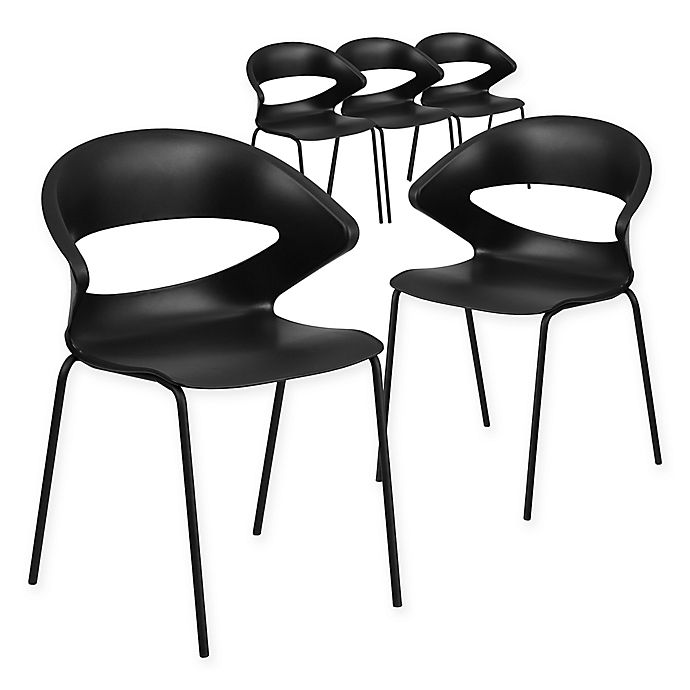 Alternate image 1 for Flash Furniture Cafe Style Plastic Stacking Chairs in Black (Set of 5)