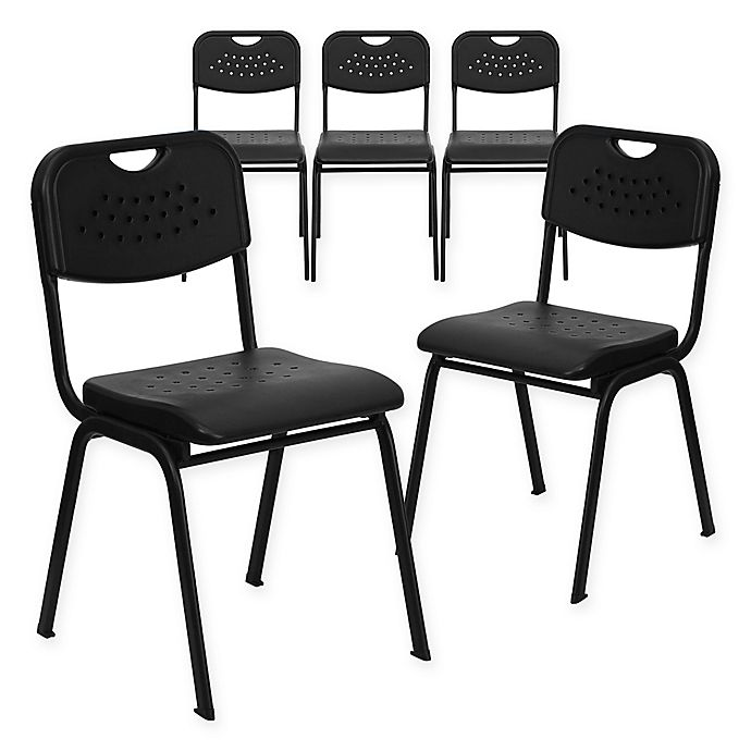 Alternate image 1 for Flash Furniture Heavy Duty Vented Stacking Chairs in Black (Set of 5)