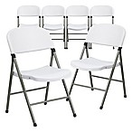 Flash Furniture Plastic Folding Chair in White (Set of 6)