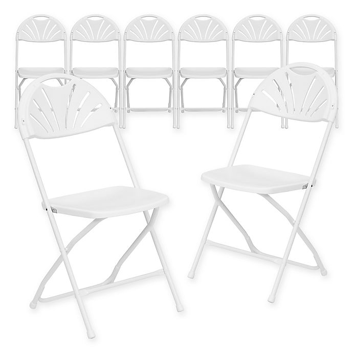 Alternate image 1 for Flash Furniture Plastic Fan Back Folding Chairs in White (Set of 8)