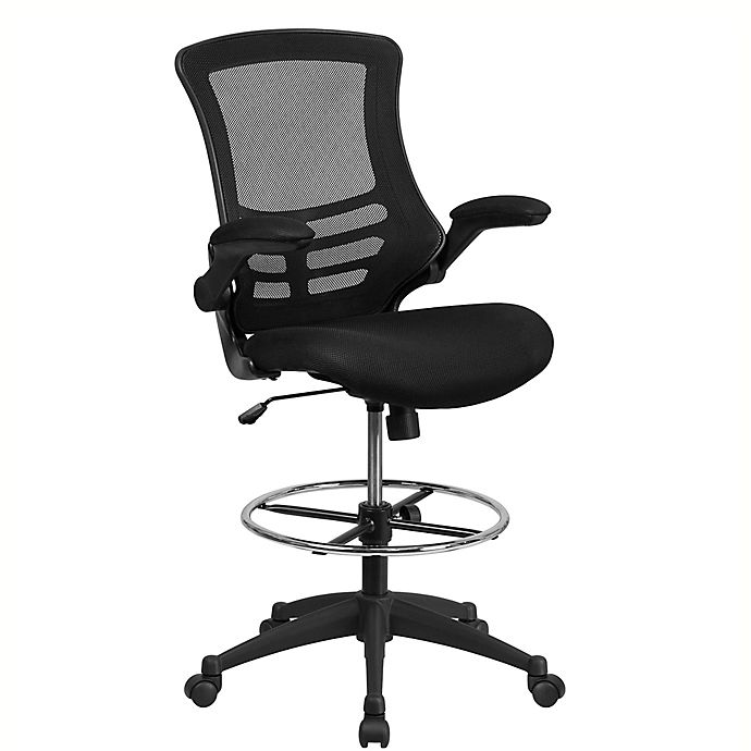 Alternate image 1 for Flash Furniture Mid-Back Mesh Drafting Chair in Black