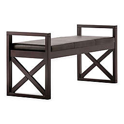 Simpli Home Rockchapel Ottoman Bench in Distressed Brown