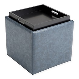 Rockwood Faux Leather Cube Storage Ottoman in Denim Blue