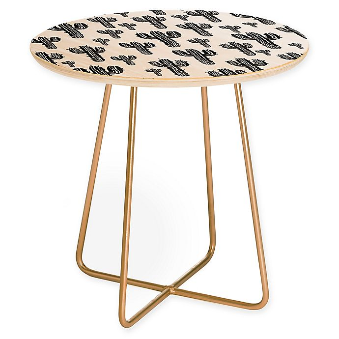 Alternate image 1 for Deny Designs Cactus Party Round Side Table in Black