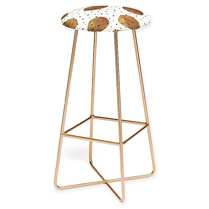 Alternate image 1 for Deny Designs Georgiana Paraschiv Mixed Dots Bar Stool in Gold