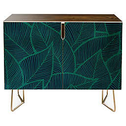 Deny Designs Arcturus Blue Green Leaves Credenza in Blue
