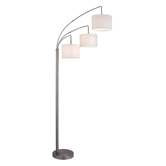 Alternate image 1 for Adesso® 3-Arc Floor Lamp in Satin Steel with White Crinkle Paper Shades