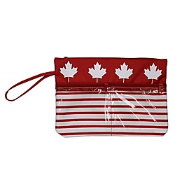 Maple Leaf Swimsuit Sack with Clear Vinyl Storage Pockets in Red