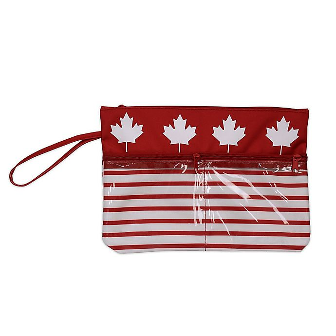 Alternate image 1 for Maple Leaf Swimsuit Sack with Clear Vinyl Storage Pockets in Red