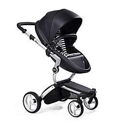 Mima Xari Aluminum Chassis Stroller in Black/Black & White Stripes