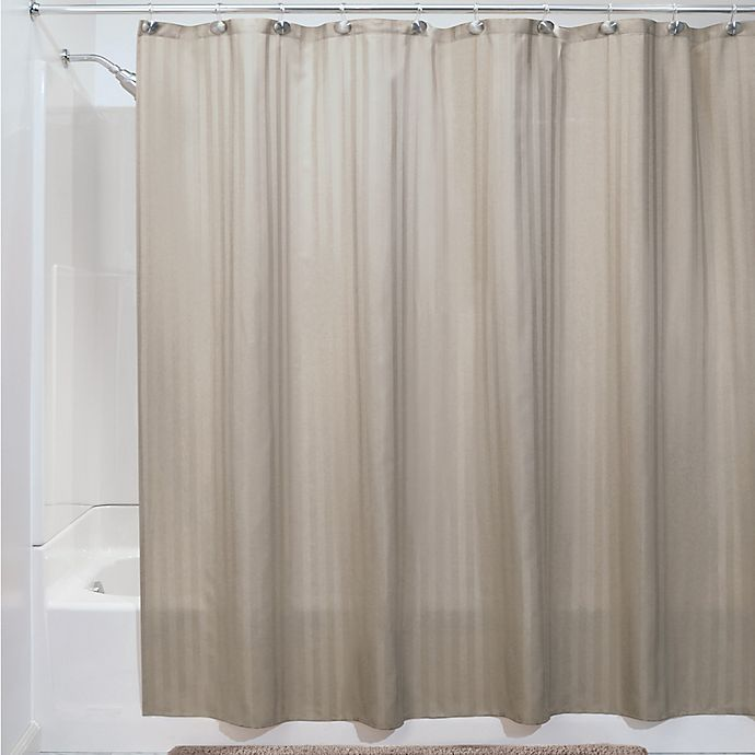 Alternate image 1 for iDesign® 72-Inch x 84-Inch Satin Stripe Shower Curtain Liner in Taupe