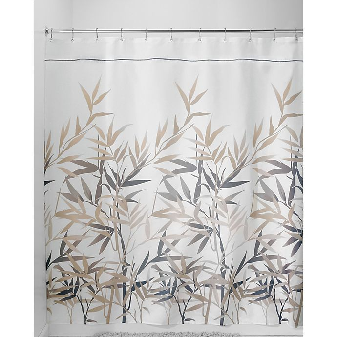 Alternate image 1 for iDesign® Anzu 54-Inch x 78-Inch Shower Curtain in Black/Tan
