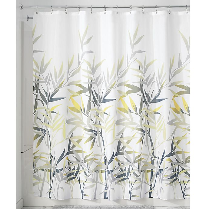 Alternate image 1 for iDesign® Anzu 72-Inch x 72-Inch Shower Curtain in Yellow/Grey