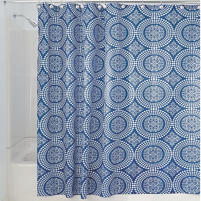 Alternate image 1 for iDesign® Medallion 72-Inch x 72-Inch Shower Curtain in Blue