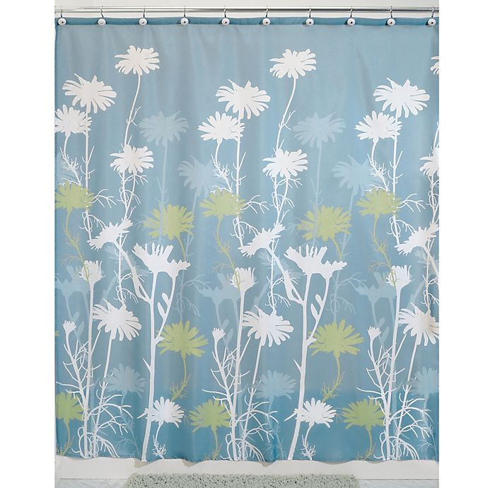 Alternate image 1 for iDesign® Daizy 54-Inch x 78-Inch Shower Curtain in Blue/Sage
