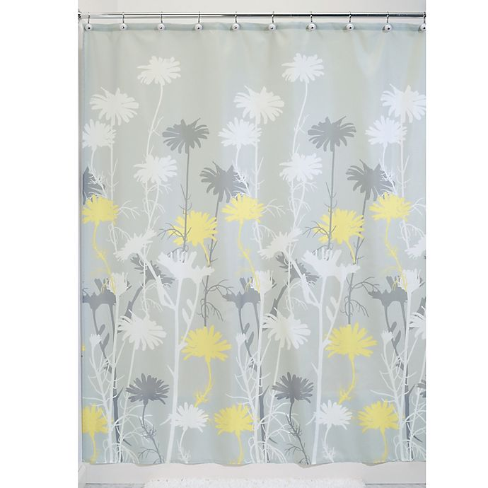 Alternate image 1 for iDesign® Daizy 72-Inch x 72-Inch Shower Curtain in Grey/Yellow